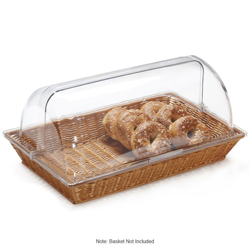 "GET CO-3065 Rectangular Dome Polyweave Basket Cover, for WB-1552, 21.25 x 13 x 7"", Clear Plastic"