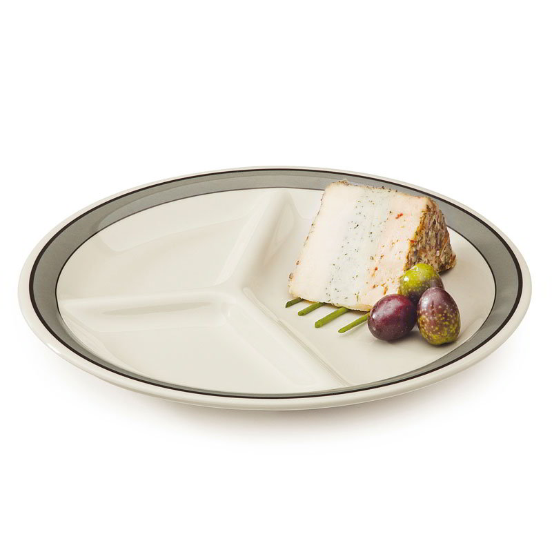 "GET CP-10-CA 10.25"" Diamond Cambridge Plastic Plate w/ 3-Compartments"