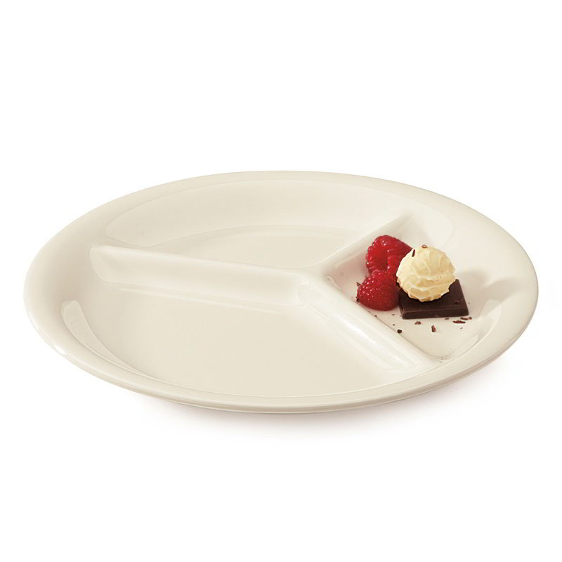 "GET CP-10-DI 10.25"" Round Dinner Plate w/ (3) Compartments, Melamine, Ivory"