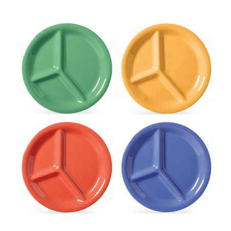 "GET CP-10-MIX 10-1/4""3-Compartment Plastic Plate, Mardi Gras Mix"