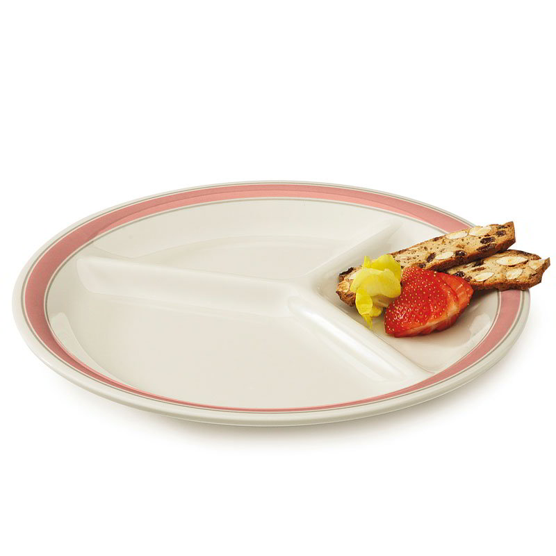 """GET CP-10-OX 10.25"""" Round Dinner Plate w/ (3) Compartments. Melamine, White"""