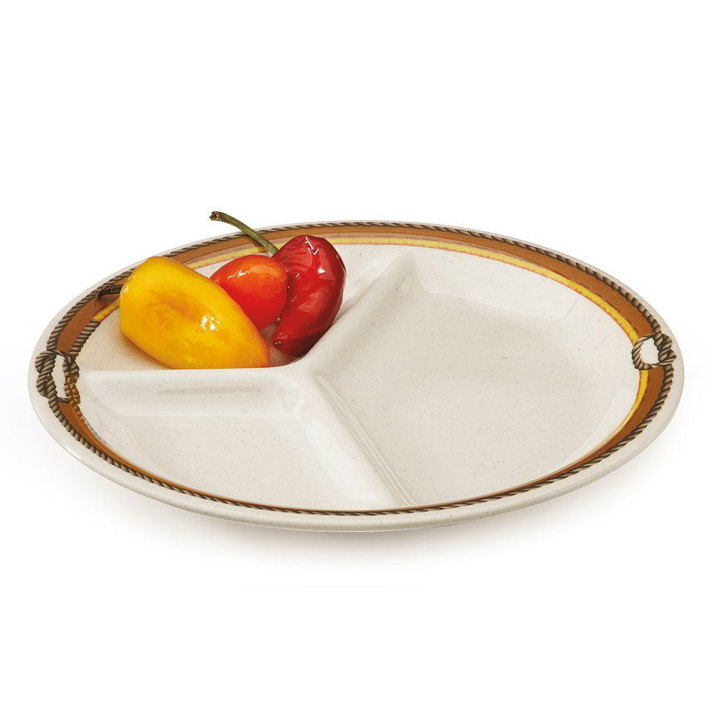 "GET CP-10-RD 10.25"" Round Dinner Plate w/ (3) Compartments, Melamine, Tan"