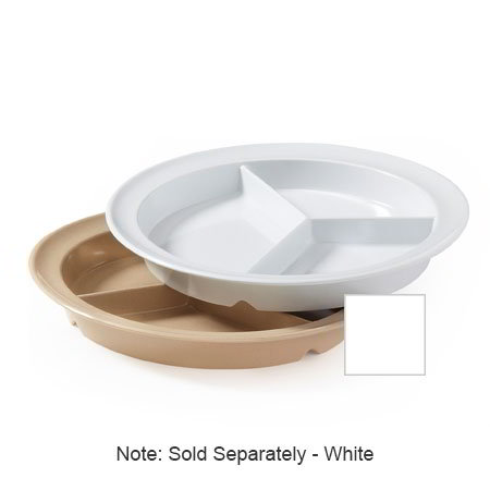 "GET CP-530-W 9""3-Compartment Plastic Plate, White, Supermel"