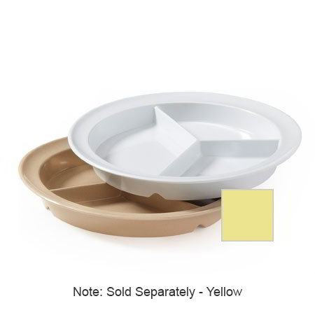 "GET CP-530-Y 9"" Round Dinner Plate w/ (3) Compartments, Melamine, Yellow"