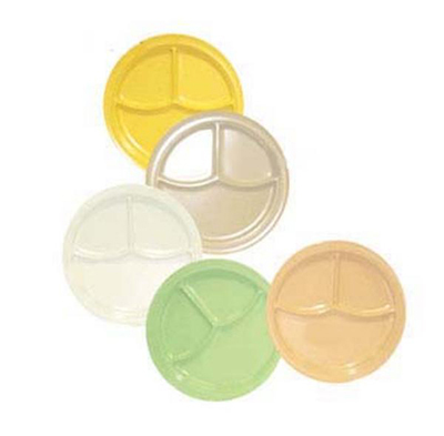 "GET CP-531-Y 10""3-Compartment Plastic Plate, Yellow, Supermel"