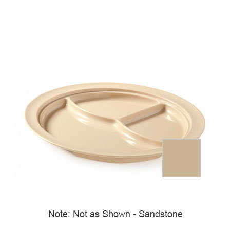 "GET CP-531-S 10""3-Compartment Plastic Plate, Sandstone, Supermel"