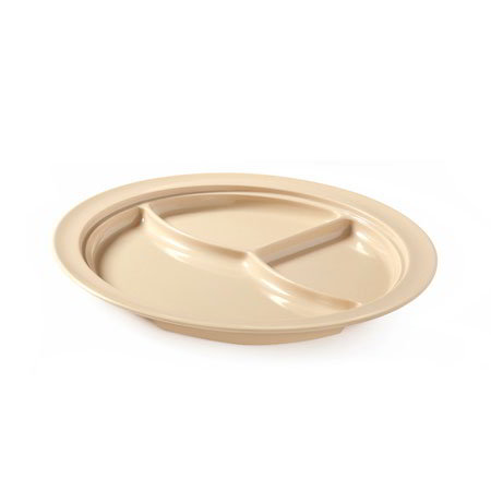 "GET CP-531-T 10""3-Compartment Plastic Plate, Tan, Supermel"