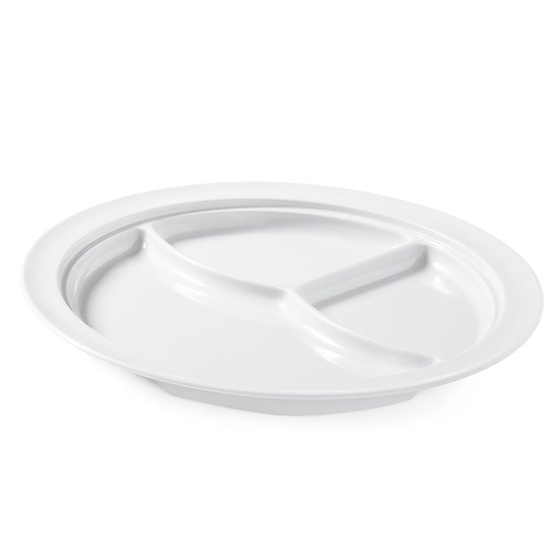 "GET CP-531-W 10""3-Compartment Plastic Plate, White, Supermel"