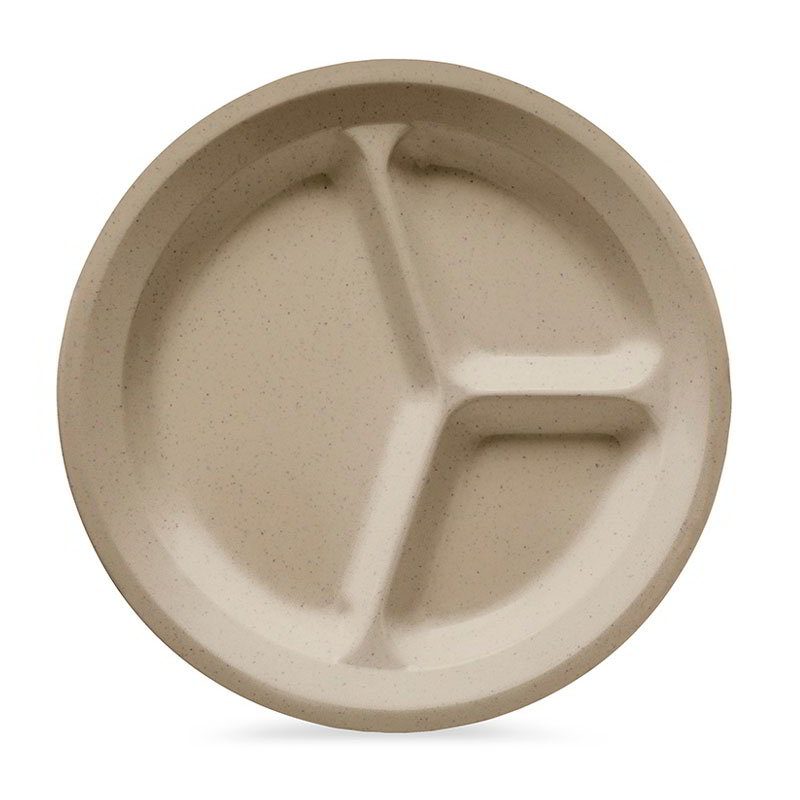 "GET CP-532-S 11""3-Compartment Plastic Plate, Sandstone, Supermel"