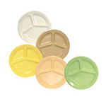 "GET CP-533-T 10""3-Compartment Plastic Plate, Deep, Tan, Supermel"