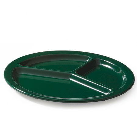 "GET CP-533-HG 10"" Round Dinner Plate w/ (3) Compartments, Melamine, Green"