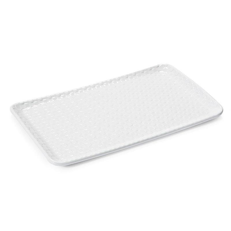 "GET CS-1270-CN-W Rectangular Platter w/ Weave Texture, 12x7"", Melamine, White"