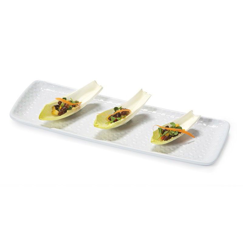 "GET CS-1450-CN-W Rectangular Platter w/ Weave Texture, 14x5"", Melamine, White"