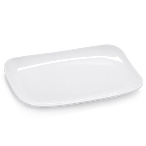 GET CS-6105-W Rectangular Break Resistant Platter, Melamine, White, 13x8