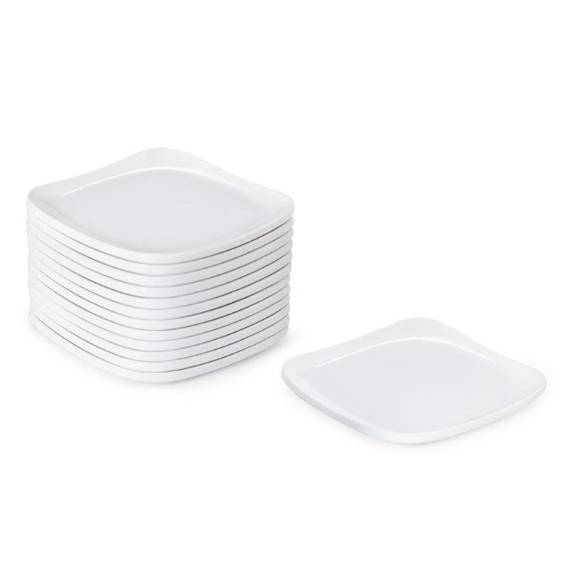 "GET CS-6114-W 4"" Square Plate, Melamine, White"