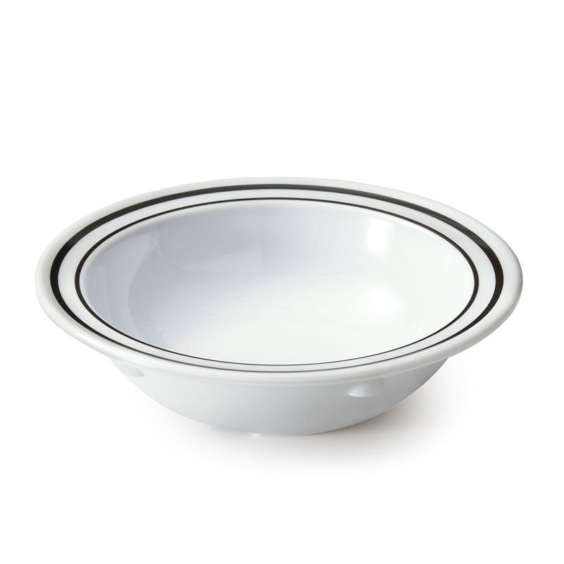 GET DN-904-AT 5-oz Supermel Ascot Grapefruit Plastic Bowl, White w/ Double Black Border
