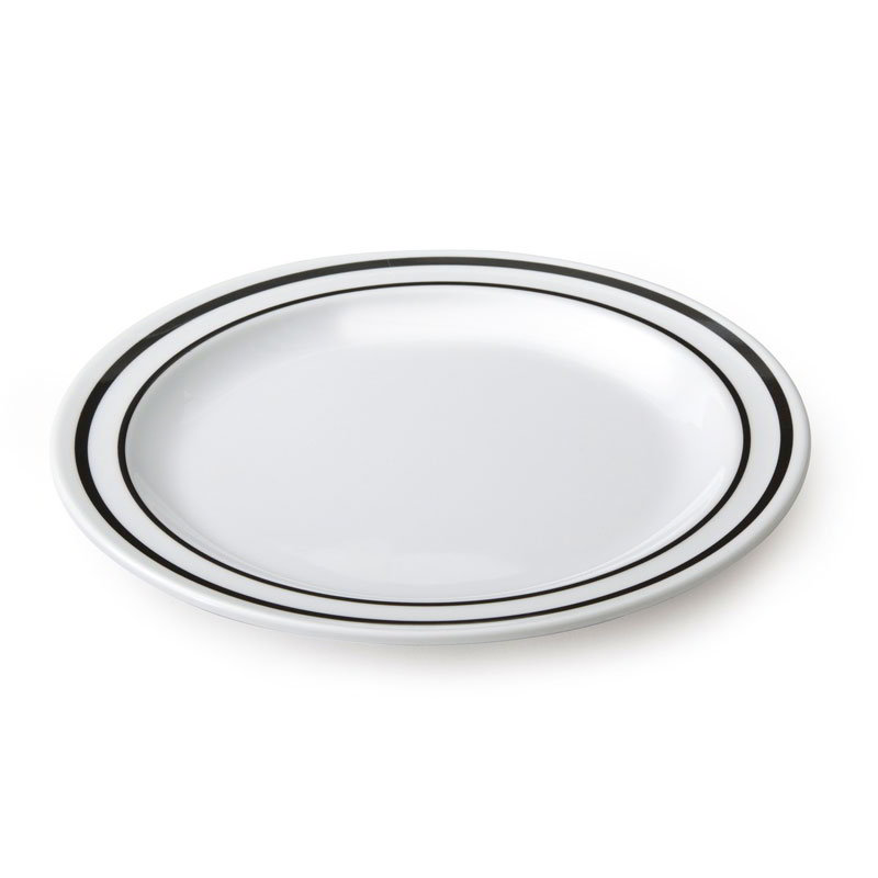 "GET DP-909-AT 9"" Supermel Ascot Dinner Plastic Plate, White w/ Double Black Border"