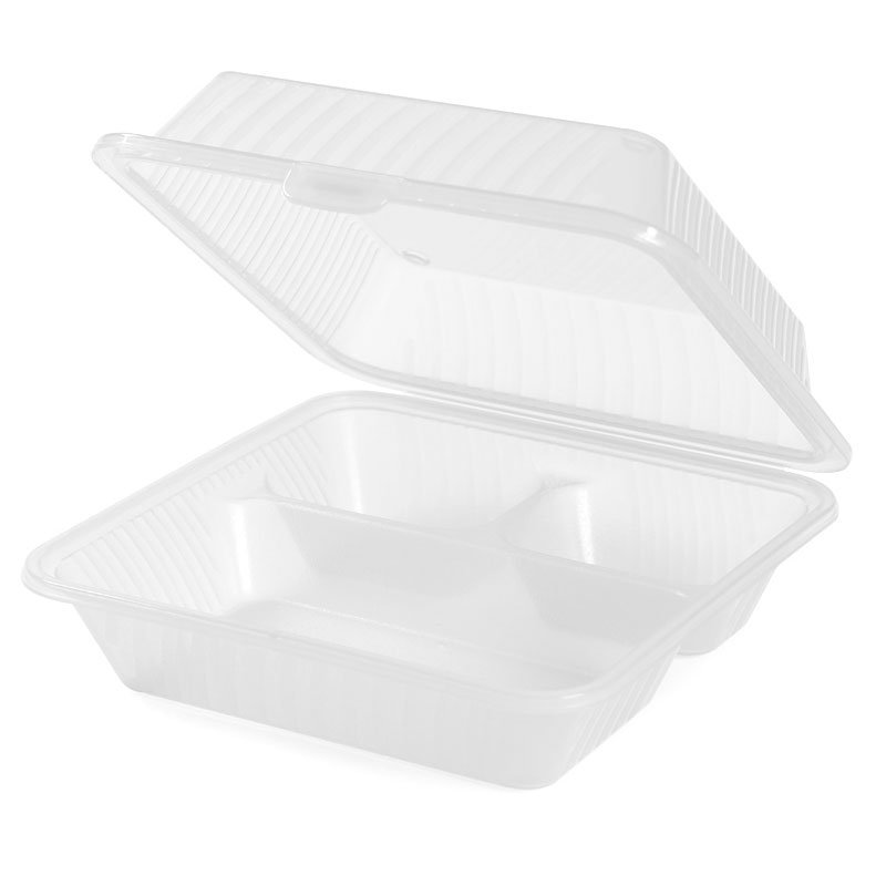 "GET EC-09-1-CL Eco Takeouts Food Container w/ 3-Compartments, 3.5"" Deep, Clear Plastic"