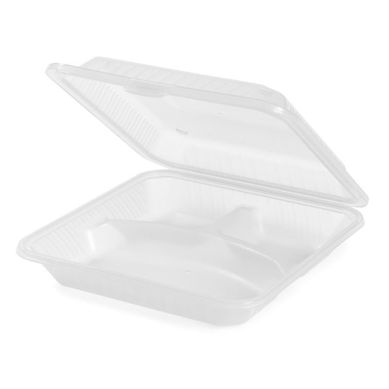 "GET EC-12-1-CL Resuable Eco Food Container, Dishwasher & Microwave Safe, 9 x 9 x 2.75"", Clear Plastic"