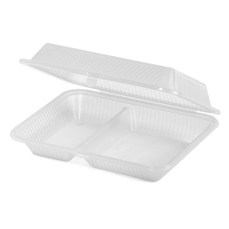 GET EC-15-1-CL Eco Takeouts Food Container w/ 2-Compartments, Clear Polypropylene