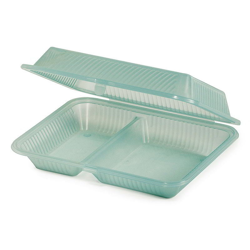 GET EC-15-1-JA Eco Takeouts Food Container w/ 2-Compartments, Jade Polypropylene