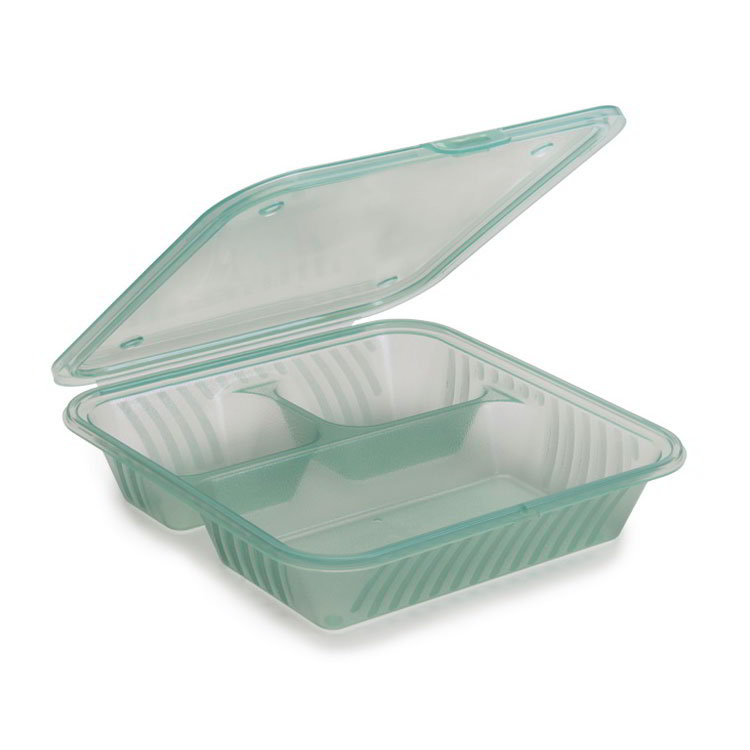 "GET EC-16-JA Eco-Takeouts™ Food Container w/ (3) Compartments - 9"" x 9"", Jade"