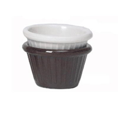 GET Enterprises F-635-BR 3 oz Ramekin Fluted Melamine Chocolate Restaurant Supply
