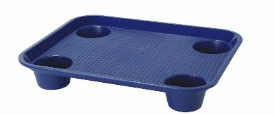"Get FT-20-R 14""x 17""Fast Food Tray, Plastic, w/ Holder, Red"
