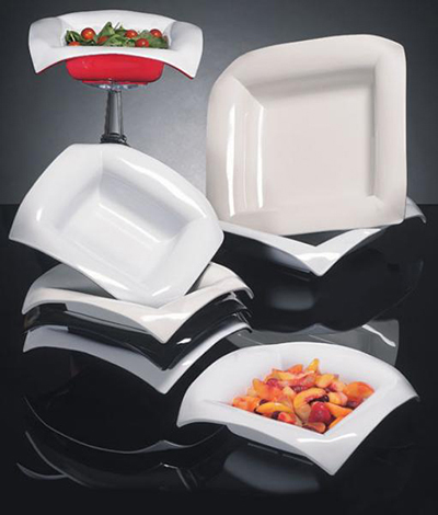 G.E.T ML-100-BK/W 2 qt Bowl Square Two-Tone Melamine Black/White Restaurant Supply