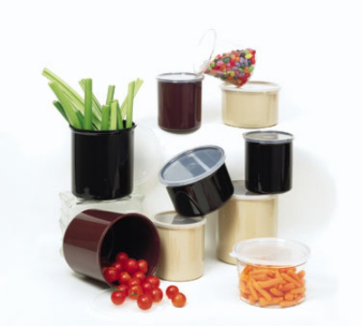 "GET CR-0120-RB 1.2-qt Salad Crock w/ Lid, 5 x 5.25"" Deep, Brown Plastic"