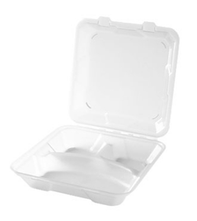 "GET EC-06-1-CL Eco Takeouts Food Container w/ 3-Compartments, 2.75"" Deep, Clear Plastic"