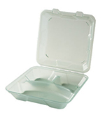"GET EC-06-1-JA Eco Takeouts Food Container w/ 3-Compartments, 2.75"" Deep, Jade"