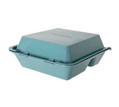 GET EC-01-1-TE Eco Takeouts Food Container w/ 3-Compartments, Teal Polypropylene