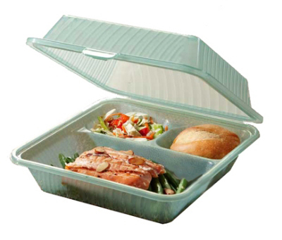 "Get EC-09-1-JA Eco Takeouts Food Container w/ 3-Compartments, 3.5"" Deep, Jade"