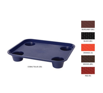 "GET FT-20-OR Fast Food Tray w/ 4-Slots, 17 x 14"", Orange Plastic"