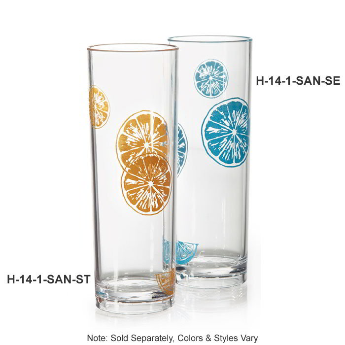 "GET H-14-1-SAN-SE 14-oz Tom Collins Glass, 2.5"" Diam x 7"" Tall, Seabreeze Plastic"