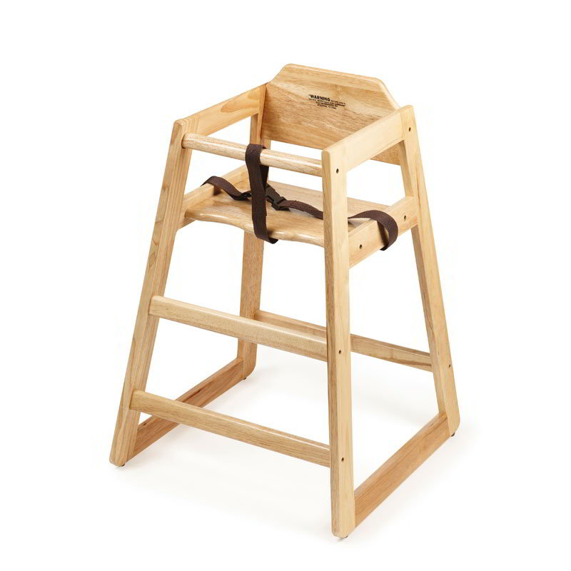 "GET HC-100N-2 29"" Stackable High Chair w/ Waist Strap - Wood, Natural"