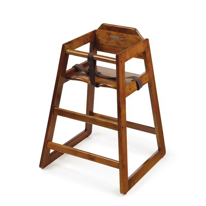"GET HC-100W-2 29"" Stackable High Chair w/ Waist Strap - Wood, Walnut"