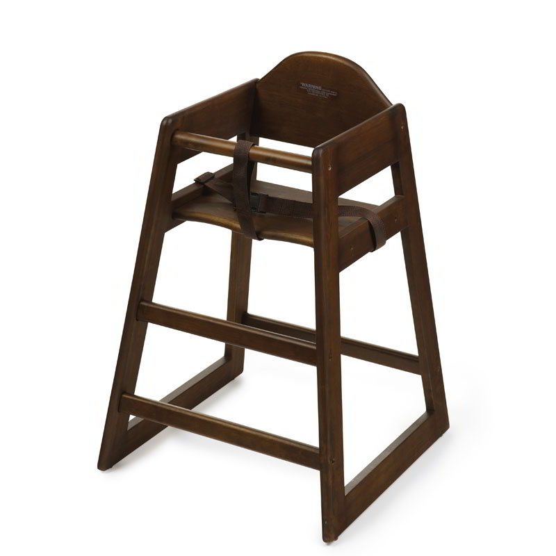 GET HC-101C-KD Commercial Hardwood High Chair w/ Backrest, Chestnut
