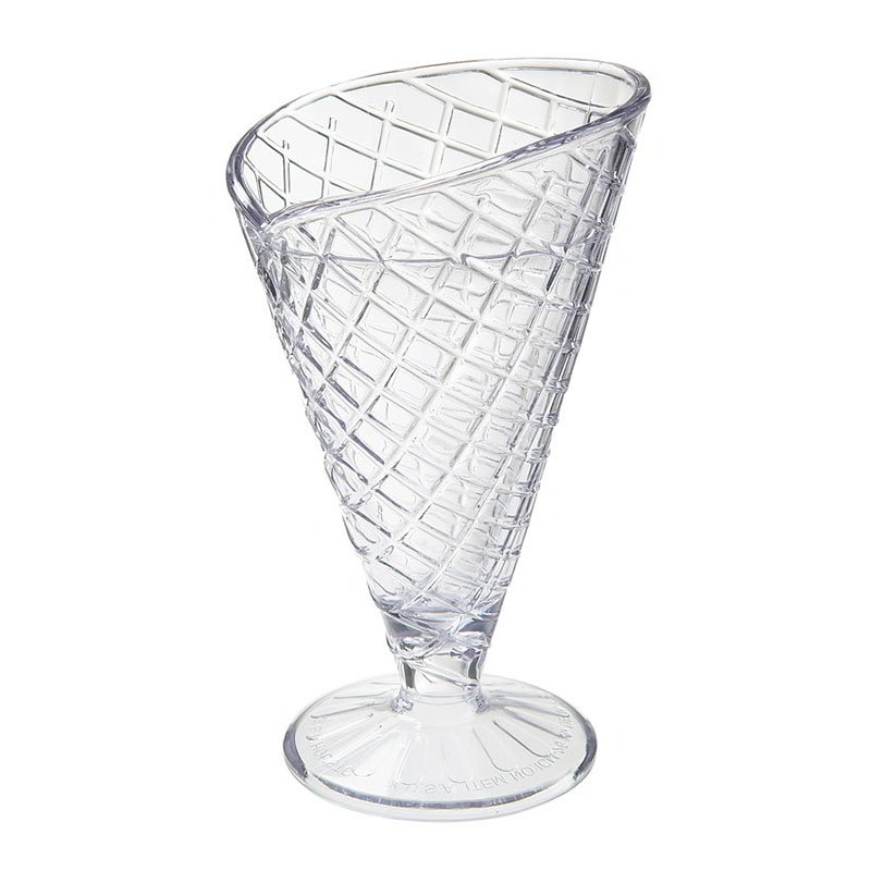 GET ICM-26-2-CL 8-oz Waffle Cone Cup w/ Break Resistance, Melamine, Clear Plastic