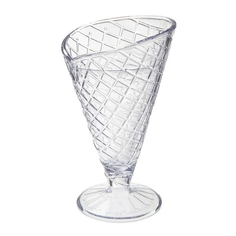 GET ICM-26-2-CL 8-oz Waffle Cone Cup w/ Break Resistance, Melamine, Clear Plastic