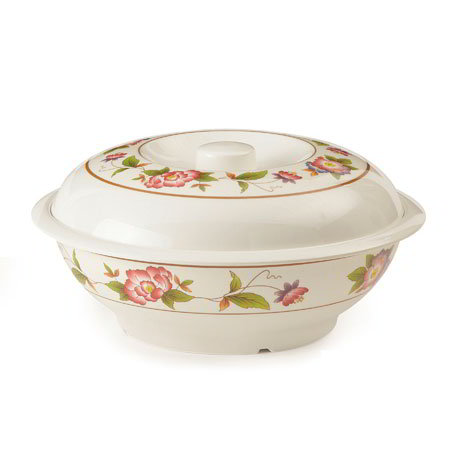 "GET KT-050-TR Party Plastic Bowl w/ Lid, 70-oz, 10""Diameter, 3""Deep, Mel, Dynasty Tea Rose"