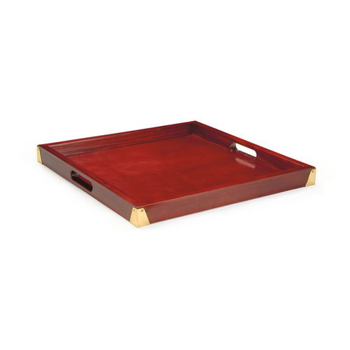 "GET LUX-2121-M Square Wood Room Service Tray, 21 x 21 x 2"" , Mahogany"