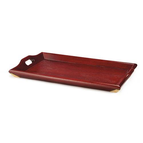 "Get LUX-2518-M Rectangular Wood Room Service Tray, 25 x 16"" , Mahogany"