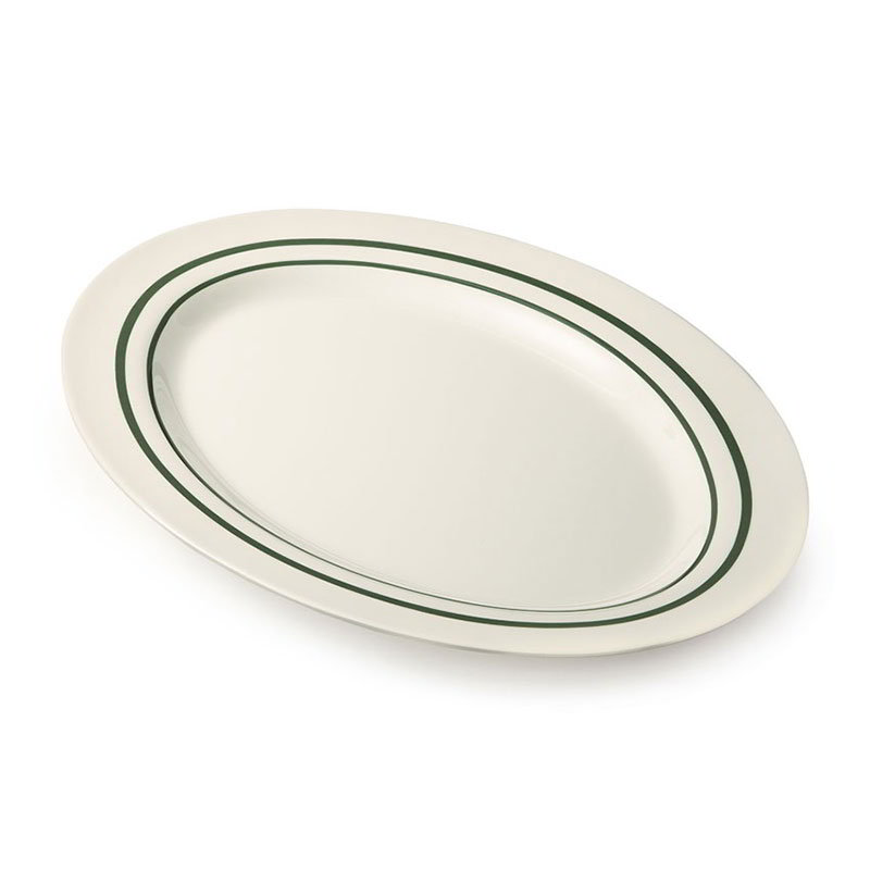 "GET M-4010-EM Oval Serving Platter, 16.25"" x 12"", Melamine, White"