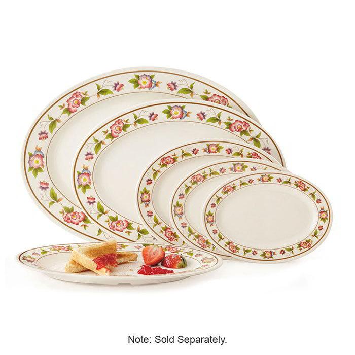 "GET M-4020-TR Oval Serving Platter, 14"" x 10"", Melamine, White"