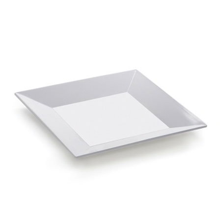 "Get ML-102-W Siciliano Plate, 6 x 6"" Square, Melamine, White"
