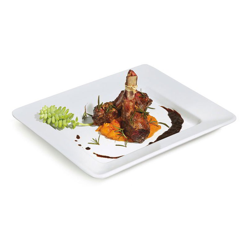 "Get ML-11-W 12""x 10""Plate, Rectangular, Melamine, White"