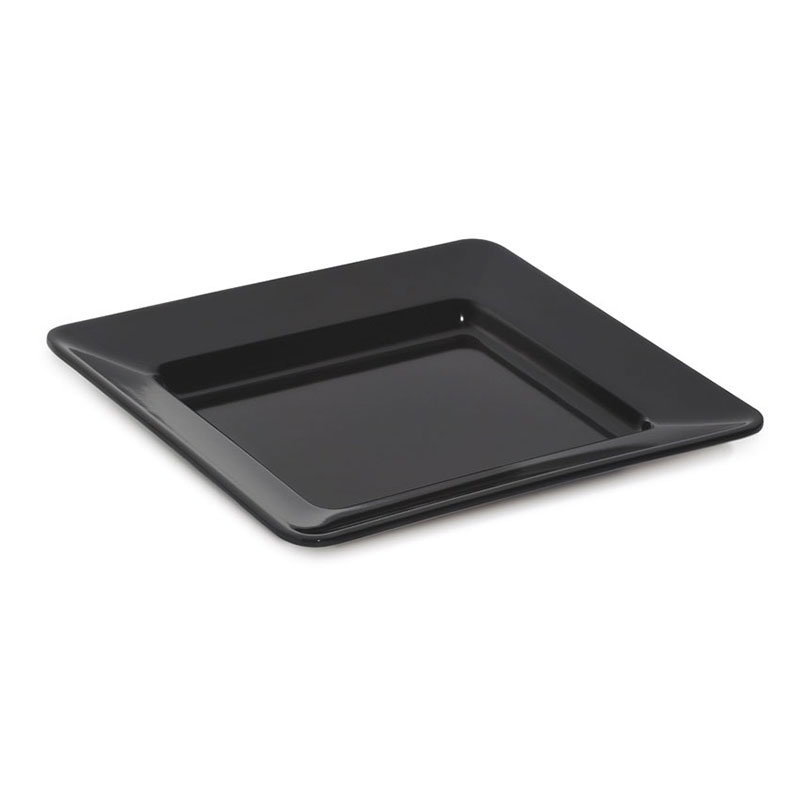 "GET ML-12-BK 12""x 12""Plate, Square, Melamine, Black"
