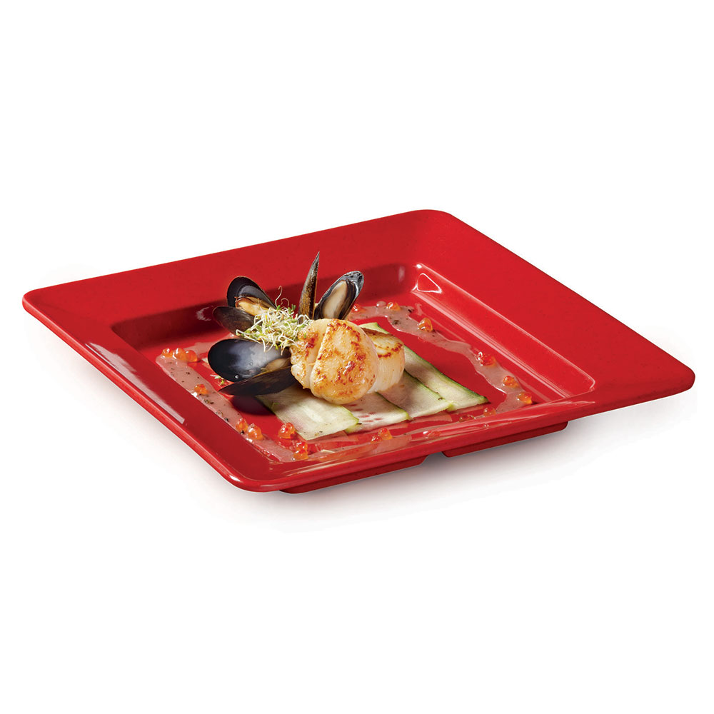 "GET ML-12-RSP 12""x 12""Plate, Square, Melamine, Red Sensation"